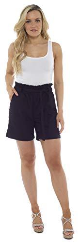 CityComfort Damen Leinenshorts   Frauen Casual Leinen Shorts für Sommer, Urlaub, Strand   Trendy Papiertüte Taille (38, schwarz) - Kleine Capri-sandalen