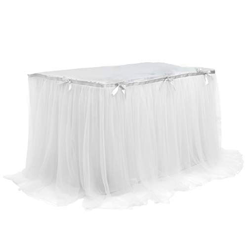 LuohuiFang Happy Wedding/Halloween/Birthday/Party Tulle Table Rock For Rectangle Round Desk Tutu Tablecloth With Satin Bownout Decor (Halloween 2019 Crafts)