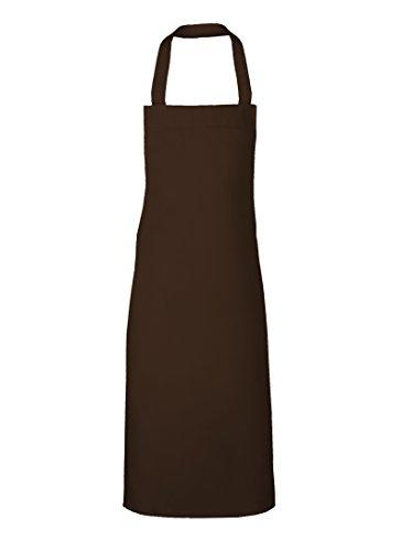 Link Kitchenwear 110 x 73 cm, in puro cotone 65/35 percento poliestere Extra-lungo Grembiule con pettorina, colore: nero marrone