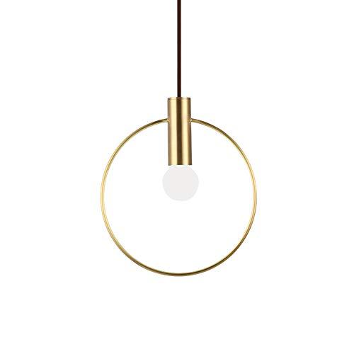 HJXDtech - Nordic Minimalist Gold Circle Pendelleuchte Modern Metall Ring E14 Decke Hängeleuchte Esszimmer Schlafzimmer Küche Leuchte (20cm)