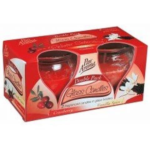 Candele profumate Cranberry, Vaniglia spezie Confezione Doppia