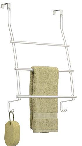 mDesign Toallero colgante para puerta o armario - Colocación sin taladrar - Portatoallas para cocina o baño - Soporte porta toallas de mano, toallones o ropa, para puerta - en metal resistente