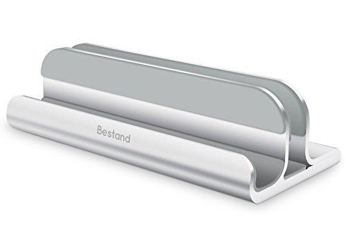 BESTAND 2 in 1 Vertikal-Laptop-Ständer für MacBook und iPad/iPhone, verstellbarer Laptop-Ständer für Laptops von verschiedener Dicke(Silber)