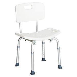 HOMCOM Silla ducha aluminio ayuda baño taburete banqueta regulable ajustable wc asiento