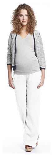 Leinen Locker (Queen Mum Damen Umstands-Hose Schwangerschafts-Hose Leinen-Hose Freizeithose Sommerhose Schwangerschaft locker leger weit Leinen weiß Gr. 40)