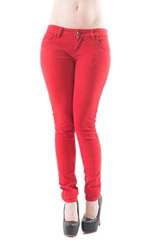 Damen Skinny Hüfthose Jeans Röhrenhose 33453 Rot