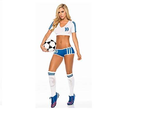 GGT Boutique Weltweite Länder Erwachsenen-Fußball-Kostüm Cheerleader-Kostüm, Damen, TLQZ6230, England, One Size - Damen Fußball Kostüm