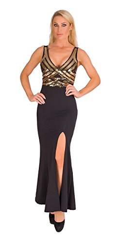 4928 Fashion4Young Langes Damen Kleid Maxikleid Abendkleid Party Pailletten Kleid Bodycon (schwarz-gold, 34-36)