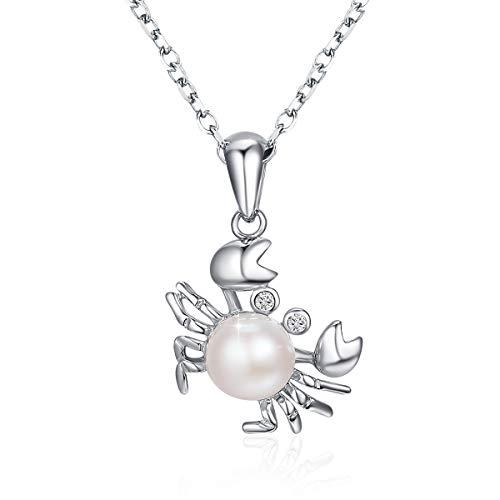 PEARLOVE Collar Colgante Constelación de Cáncer de Plata de Ley 925, Collar de Perlas Cangrejo Precioso, Regalo de Cumpleaños del Día de San Valentín para Mujeres