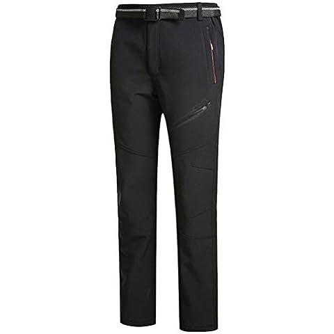 WE&ZHE De los hombres al aire libre Soft shell polar pantalones espesar cálido impermeable a prueba de viento flojo tipo más terciopelo otoño e invierno pantalones de escalada , 1# , male models