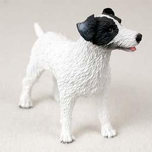 Jack Russell Raue Coat Schwarz Weiß Hund Figur -