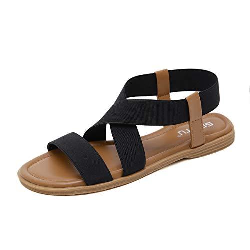 SANMIO Damen Sandalen Elastischen Sommer Flach Die Gummibänder Strand Sandals