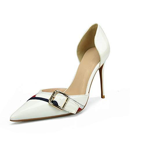 QISTAR Dress Pump Stilvolle Classy Elegant D'orsay Pumps für Damen Hohe Stiletto Heels Side Cut Decor mit Gürtel Spitz Sexy Schuhe für Damen (Color : White 10 cm Heel, Size : 40 EU) Classy Dress Pump