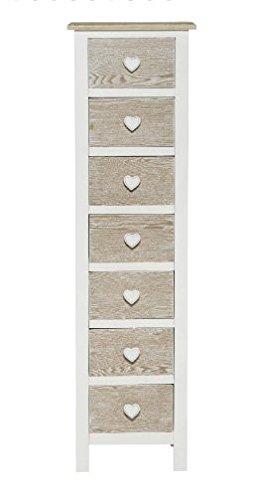 Cassettiera in legno bianca con richiami country tile vintage con pomelli a forma di cuore L'ARTE DI NACCHI TD-02