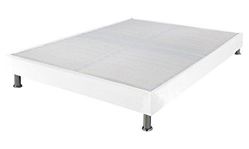 Ebac Literie - Sommier tapissier 160x200 Omega cuir blanc 2x17 lattes