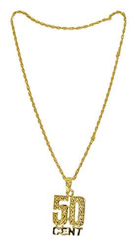 Goldene Disco Halskette 50 (Cent Kostüm 50 En)