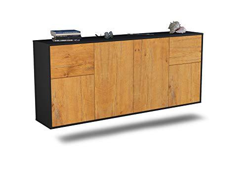 Dekati Sideboard Costa Mesa hängend (180x77x35cm) Korpus anthrazit matt | Front Holz-Design Eiche | Push-to-Open Mesa Olive