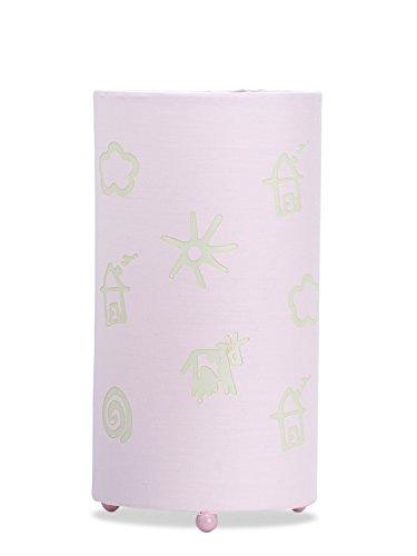 Aratextil Alexia Lampe de Table, Coton, Rose, 24.5 x 13 cm