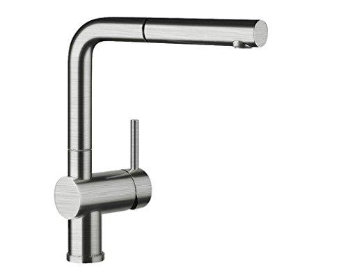 Blanco Linus-S Küchenarmatur - Einhebelmischer mit ausziehbarer Schlauchbrause, metallische Oberfläche, Edelstahl gebürstet, Hochdruck, 1 Stück, 517184