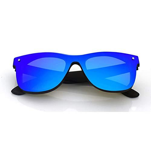 Honneury Mode hochwertige Holz Brille, Flache Sonnenbrille, Unisex (Farbe : Blue+Wood)
