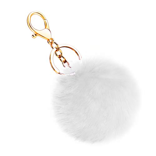 Soleebee Künstliche Kaninchenfell Keychain Flauschigen Ball Pom Pom Schlüsselanhänger Taschen Koffer Rucksäcke Zubehör Charm Auto Schlüsselanhänger Schlüsselring für Frauen Mädchen (Weiß)