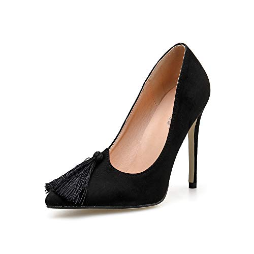 YAN Women es High Heels Spring New Pointed Tassels Pumps Sexy Stiletto Schuhe geschlossen Toe Hochzeit Party Abend Red Black,Black,37 -