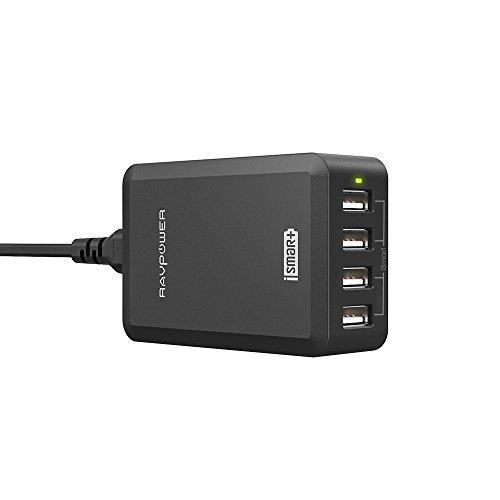 RAVPower Chargeur Secteur Universel 4 Ports USB (Sortie 40W/8A 5V, Technologie iSmart, 110 - 240V) Adapteur Secteur USB Chargeur de Voyage - Noir