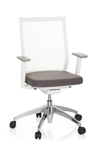 hjh OFFICE 657630 Bürostuhl Aspen Weiß/Grau Schreibtischstuhl ergonomisch mit selbstheilendem Netzrücken