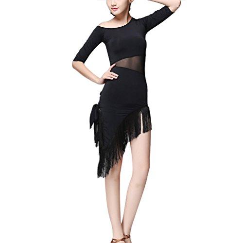 ance Kleid Quaste Kleid Cha Cha Tango Rock Praxis Wettbewerb Kostüm - Größe XL (schwarz) ()