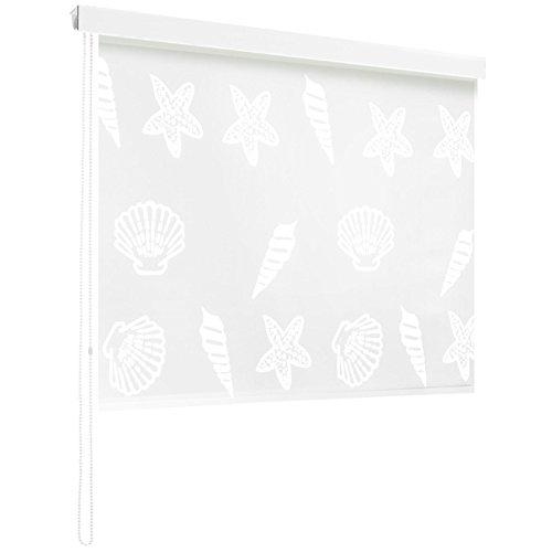 casa pura Modernes Duschrollo Ocean mit Kassette | schnelltrocknendes Rollo für Dusche und Badewanne | bis zu 240 cm Länge Ausziehbar | zahlreiche Breiten Wählbar (Breite 80 cm)