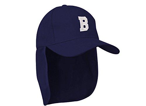 Junior-Legionär-Stil Jungen Mädchen Mütze Baseball Nackenschutz Sonnenschutz Cap Hut Kinder Kappe A-Z Letter MFAZ Morefaz Ltd (B)