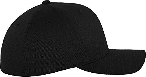 Flexfit Wooly Combed - 6 Panel Unisex Baseball Cap in 28 Farben, für Erwachsene und Kinder Black