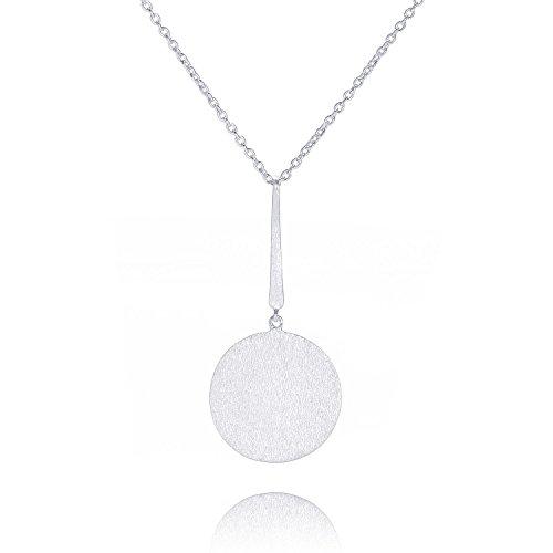 Pernille Corydon Lange Kette mit Plättchen für Damen Silber - Coin Serie Halskette Kreis Anhänger Lange XXL Kette 80 cm 925 Silber - N005s