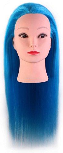 Tête à coiffer de cosmétologie 60 cm, tête en fibre synthétique haute température, cheveux bleus.