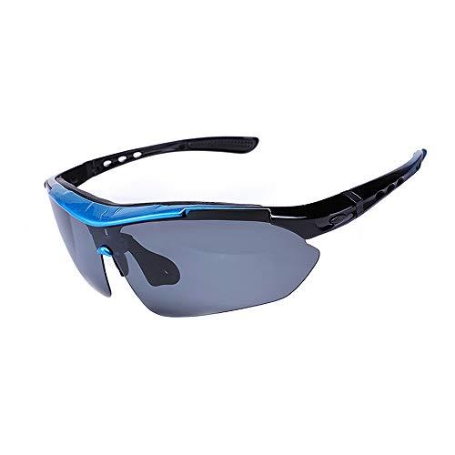 Eastlion Sport Sonnenbrille Mit 5 Wechselobjektiv Mit polarisierter Linse Kurzsichtigkeit Gläser Verfügbar Reitbrille Zum Radfahren Fahren,Blau