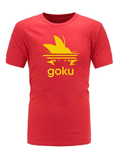 CHENGNT Camisetas Cartoon Anime Dragon Ball Z Super Saiyan Goku Unisex Camiseta Deportiva De Algodón Naranja 3 XXL