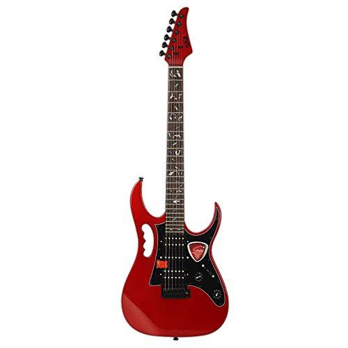 Miiliedy Kostengünstiger Metal Rock-E-Gitarren-Anfänger Erwachsene Üben Spielen Professionelle E-Gitarren-Sets mit Tasche, Gurt, Schnur, Kabel, Poliertuch ( Color : Red )