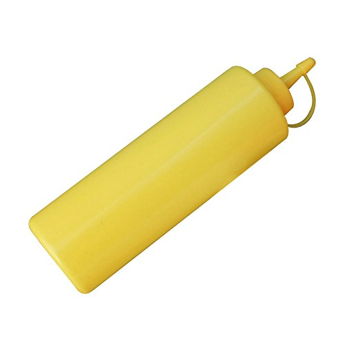 Pinzhi 2 stücke 8 unze / 240 ml Küche Ketchup Dispenser Transparente Kunststoff Squeeze Senf Flasche Öl Cruet(Gelb) (Condiment Dispenser Mit Kappe)