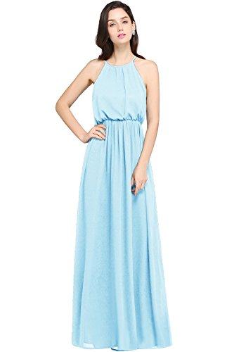 Babyonline Elegant Maxikleid Halsträger Chiffon Kleider Abendkleid Cocktailkleid Hellblau...