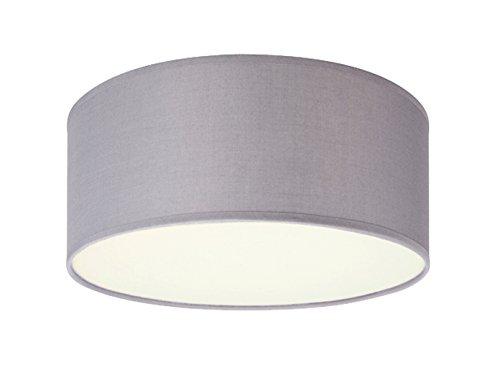 Elegante Deckenleuchte mit LED Licht - Stoff Lampenschirm grau Ø20cm - Warmes Licht durch satinierte Abdeckung
