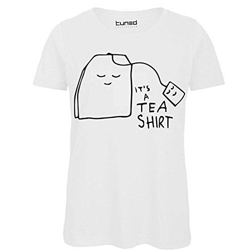 T-shirt divertente donna maglietta cotone con stampa frasi ironiche tea shirt tuned, colore: bianco, taglia: m