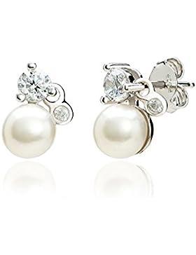 Eye Candy Damen-Ohrstecker Ohrringe 925 Sterling Silber rhodiniert Süßwasser-Zuchtperlen 6.5mm mit 4 weißen Zirkonia...