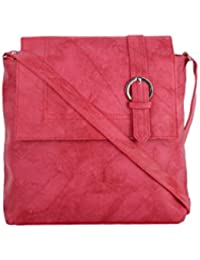 CFI Pink Synthetic Leather Sling Bag For Women / Girls