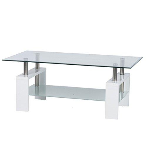 Bakaji tavolino da caffè salotto soggiorno rettangolare 2 ripiani in vetro temperato struttura legno e metallo dimensione 110 x 60 x 45 cm (bianco)