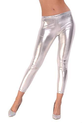 AE Leggings Metallic Latex Wet Look Lack Leder Optik Gr. S M L XL XXL 3X 4XL, 1905 Silber 2XL/44