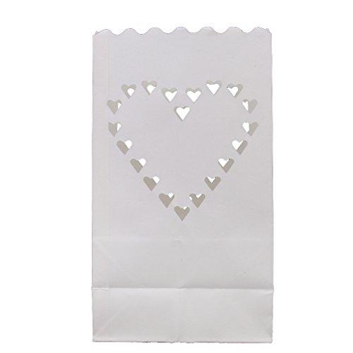 Sharplace 10 Stk Herz Muster Kerzentüte Lichttüte Candlebag Laterne für Garten Windlicht Gartenlicht Tischdeko Hochzeit Deko