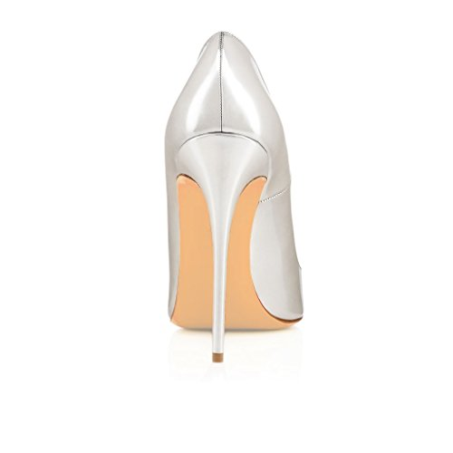 EDEFS Damenschuhe Faschion SUKaite 120mm Spitzschuh klassische Partei dünne Pumps Stiletto Schuhe Silber