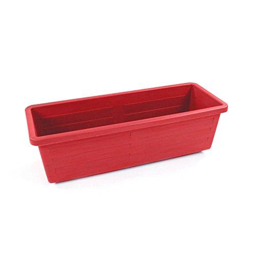 EDA Plastiques - Jardinières - Jardinière Miami sans Plateau 50 x 18,5 x 15,5cm 10L - Rouge Rubis
