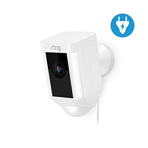 Ring Spotlight Cam - Caméra de surveillance filaire 1080 HD avec reflécteur LED, communication bidirectionnelle, alarme et connexion wi-fi, prise européenne, blanche