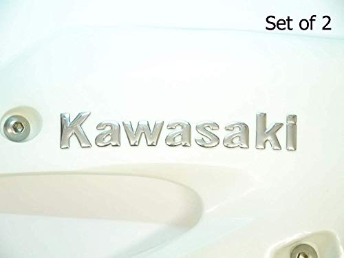 145x22mm Cromo Kawasaki Moto Emblema Insignia Gasolina
